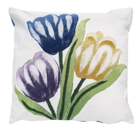 "Liora Manné Indoor/Outdoor Cool Tulips Throw Pillow - 20x20"" in Multi"