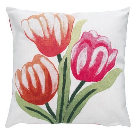 "Liora Manné Indoor/Outdoor Warm Tulips Throw Pillow - 20x20"" in Multi"