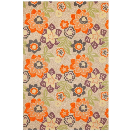"""Liora Manné Ravella Floral Collection Area Rug - 5'x7'6"""", Indoor/Outdoor in Purple"""