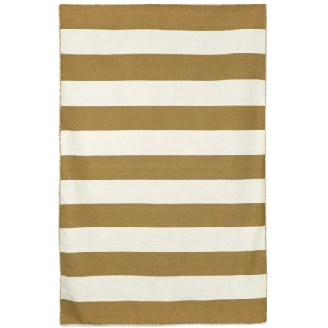 """Liora Manné Sorrento Rugby Stripe Collection Accent Rug - 3'6""""x5'6"""", Indoor/Outdoor in Khaki"""