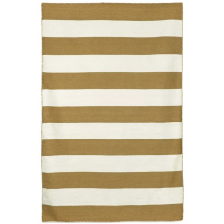 """Liora Manné Sorrento Rugby Stripe Collection Area Rug - 5'x7'6"""", Indoor/Outdoor in Khaki"""
