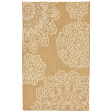 """Liora Manné Terrace Crochet Collection Accent Rug - 3'3""""x4'11"""", Indoor/Outdoor in Almond"""