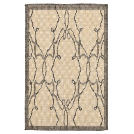 "Liora Manné Terrace Delicate Scroll Collection Accent Rug - 23x35"", Indoor/Outdoor in Grey"