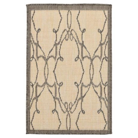 """Liora Manné Terrace Delicate Scroll Collection Accent Rug - 3'3""""x4'11"""", Indoor/Outdoor in Grey"""