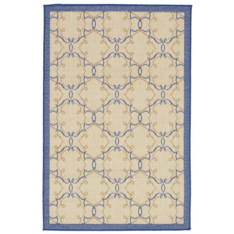 "Liora Manné Terrace Delicate Scroll Collection Area Rug - 4'10""x7'6"", Indoor/Outdoor in Topaz"