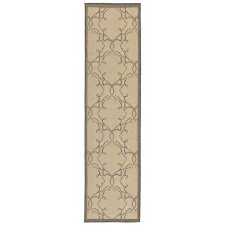 "Liora Manné Terrace Delicate Scroll Collection Floor Runner - 1'11x7'6"", Indoor/Outdoor in Grey"