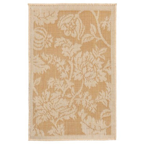 """Liora Manné Terrace Floral Collection Accent Rug - 23x35"""", Indoor/Outdoor in Almond"""