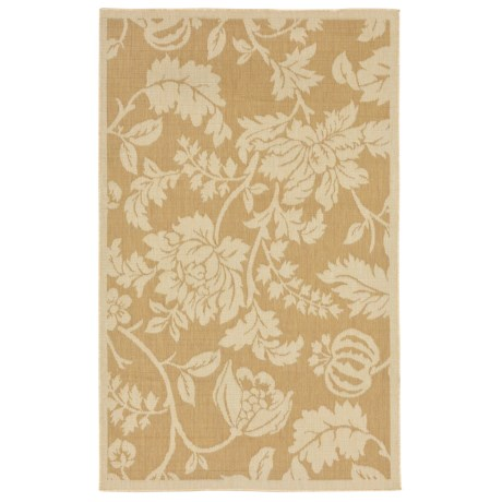"Liora Manné Terrace Floral Collection Area Rug - 4'10""x7'6"", Indoor/Outdoor in Almond"