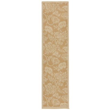 "Liora Manné Terrace Floral Collection Floor Runner - 1'11x7'6"", Indoor/Outdoor in Almond"
