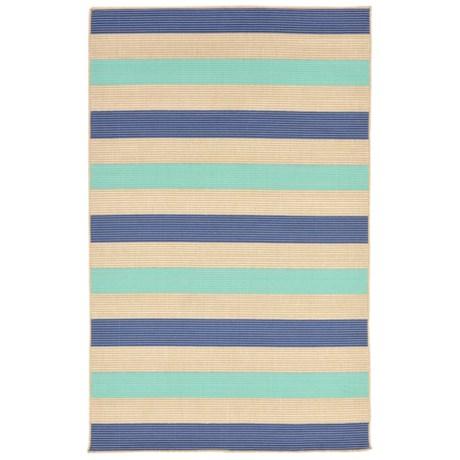 """Liora Manné Terrace Multi-Stripe Collection Accent Rug - 3'3""""x4'11"""", Indoor/Outdoor in Aquarius"""
