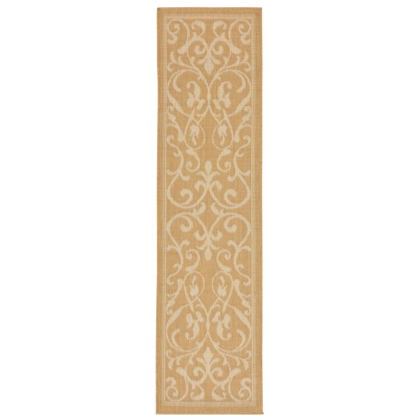 "Liora Manné Terrace Scroll Vine Collection Floor Runner - 1'11x7'6"", Indoor/Outdoor in Almond"