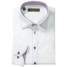 Lipson Contrast-Stitched Dress Shirt - Contemporary Fit, Long Sleeve (For Men) in White Combo - Closeouts