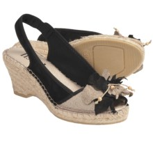 Lisa B. and Co. Flower Espadrille Sandals - Sling-Back, Peep Toe (For Women) in Black - Closeouts