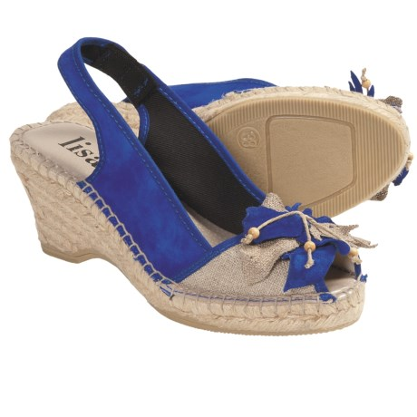 Lisa B. and Co. Flower Espadrille Sandals - Sling-Back, Peep Toe (For Women) in Cobalt