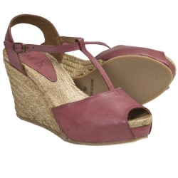 Lisa B. and Co. T-Strap Espadrille Sandals - Leather, Peep Toe (For Women) in Vintage Rose