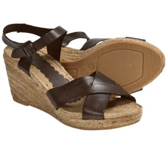 Lisa B. and Co. Wedge Sandals - Leather (For Women) in Dark Brown