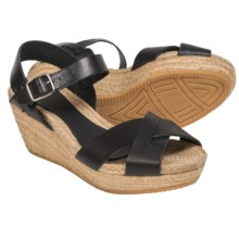 lisa b. Criss-Cross Espadrille Sandals - Leather, Wedge Heel (For Women) in Black Leather - Closeouts