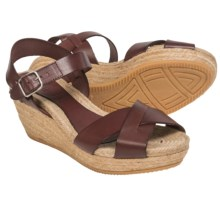 lisa b. Criss-Cross Espadrille Sandals - Leather, Wedge Heel (For Women) in Brown - Closeouts