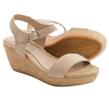 lisa b. Double-Strap Espadrille Wedge Sandals - Suede (For Women) in Beige - Closeouts