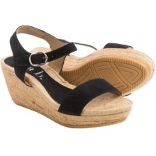lisa b. Double-Strap Espadrille Wedge Sandals - Suede (For Women) in Black - Closeouts