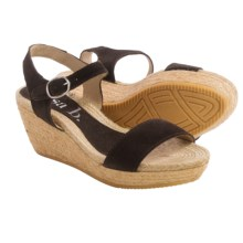 lisa b. Double-Strap Espadrille Wedge Sandals - Suede (For Women) in Dark Brown - Closeouts