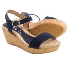 lisa b. Double-Strap Espadrille Wedge Sandals - Suede (For Women) in Navy - Closeouts