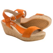 lisa b. Double-Strap Espadrille Wedge Sandals - Suede (For Women) in Orange - Closeouts