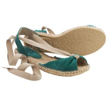 lisa b. Espadrille Sandals - Suede (For Women) in Teal - Closeouts