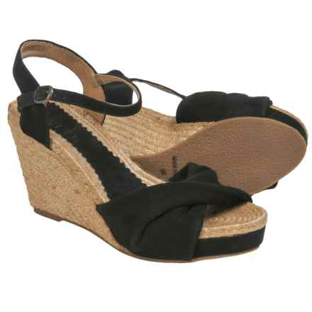 lisa b. Twisted Espadrille Wedge Sandals - Suede (For Women) in Black - Closeouts