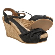 lisa b. Twisted Espadrille Wedge Sandals - Suede (For Women) in Charcoal - Closeouts