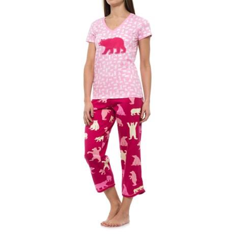 Little Blue House Bear Print Shirt and Capris Pajamas - Short Sleeve (For Women) in Fuchsia