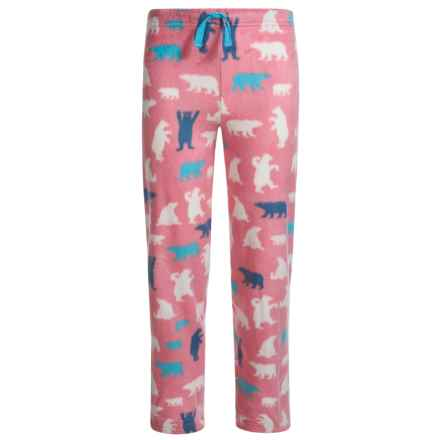 Little Blue House by Hatley Bear Fuzzy Fleece Pajama Pants (For Big Girls) in Pink Bear - Closeouts