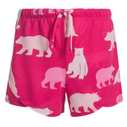 Little Blue House by Hatley Bears Shorts (For Big Girls) in Fuchsia Bears - Closeouts