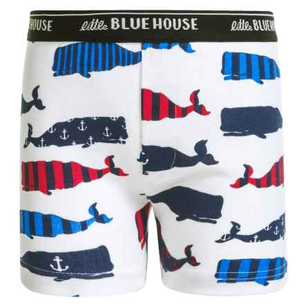 Little Blue House by Hatley Boxer Shorts (For Big Boys) in Whales - Closeouts