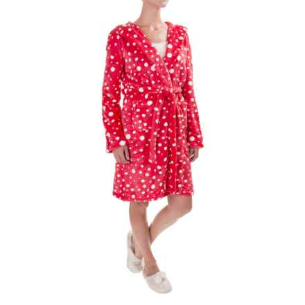 Little Blue House by Hatley Fleece Plush Hooded Robe - Long Sleeve (For Women) in Snoball Polka Dot Red - Closeouts