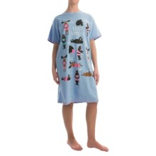 Little Blue House by Hatley Printed Sleep Shirt - Cotton Jersey, Short Sleeve (For Women) in Text Appeal - Closeouts