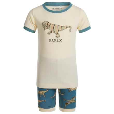 Little Blue House by Hatley Shirt and Shorts Pajamas - Short Sleeve (For Little Boys) in Blue Dino - Closeouts