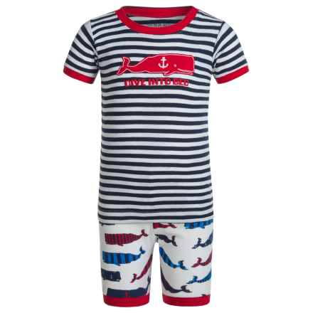 Little Blue House by Hatley Shirt and Shorts Pajamas - Short Sleeve (For Little Boys) in Whales Dive Into Bed - Closeouts