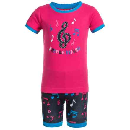 Little Blue House by Hatley Shirt and Shorts Pajamas - Short Sleeve (For Little Girls) in Colorful Music Notes - Closeouts