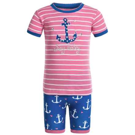 Little Blue House by Hatley Shirt and Shorts Pajamas - Short Sleeve (For Little Girls) in Nautical Anchors - Closeouts