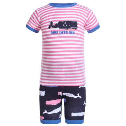 Little Blue House by Hatley Shirt and Shorts Pajamas - Short Sleeve (For Little Girls) in Whales Dive Into Bed - Closeouts