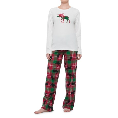 Little Blue House Flannel Lounge Set - Cotton, Long Sleeve (For Women) in White/Red Multi Plaid