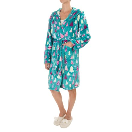 Little Blue House Hatley Fleece Plush Hooded Robe - Long Sleeve (For Women)  in c116762e8