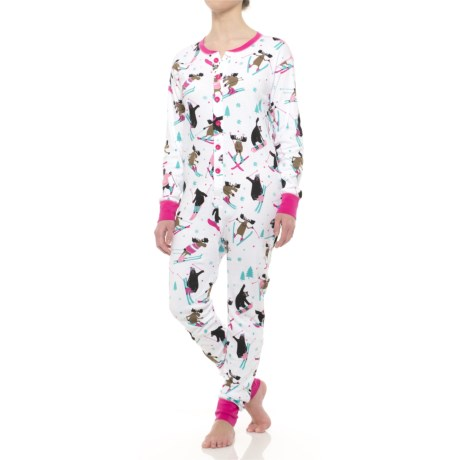 Little Blue House Holiday Patterned Union Suit Pajamas (For Women)