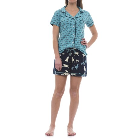 Little Blue House Lab-Print Pajamas - Short Sleeve (For Women) in Blue