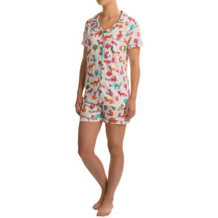 Little Blue House Shorty Pajamas - Short Sleeve (For Women) in Party Fox Multi - Closeouts