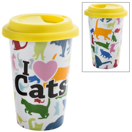 Little Gifts Pet Lover Travel Mug - Insulated, Ceramic in Cat Lover