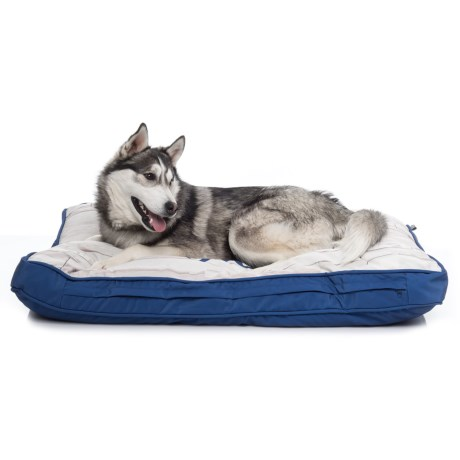 """Live Love Bark """"Don't Quit Your Daydream"""" Rectangle Dog Bed - 28x40"""" in Blue"""