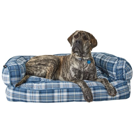 "Live Love Bark Big Plaid Bolster Dog Bed - 43x29"" in Blue"