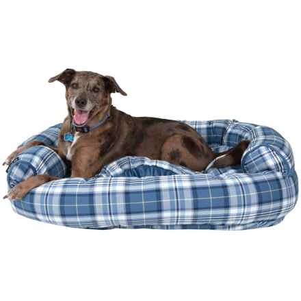 """Live Love Bark Big Plaid Couch Dog Bed - 40x36"""" in Blue - Closeouts"""